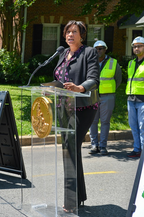 Mayor Muriel Bowser providing remarks at DC PLUG Groundbreaking on June 14, 2019