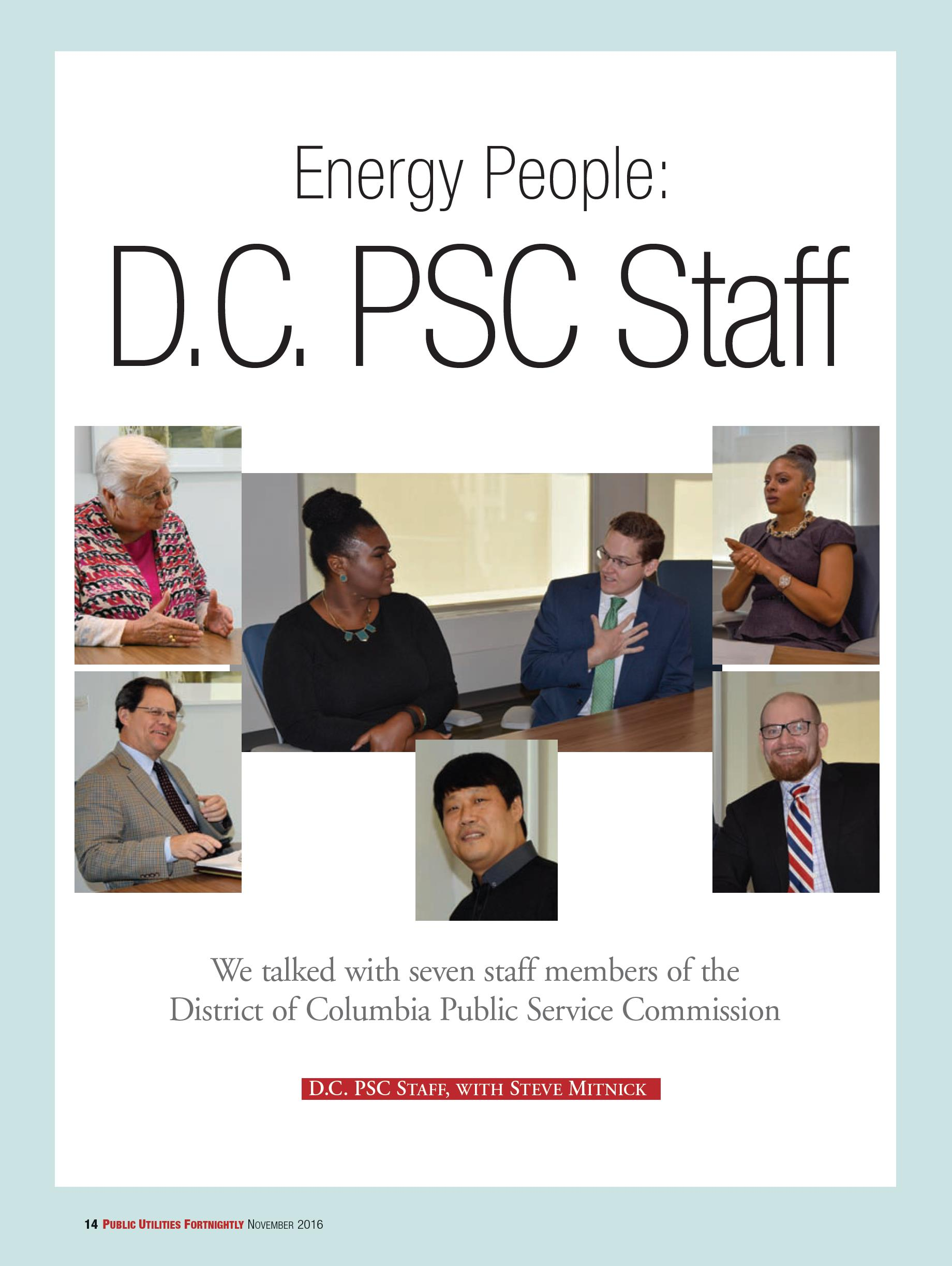DCPSC Staff featured in the November issue of Public Utilities Fortnightly